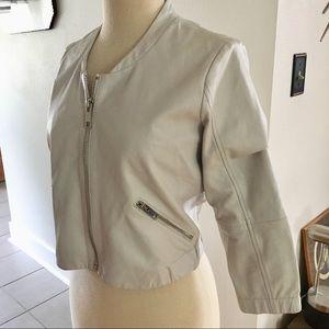 Mango Cropped Leather Jacket Size S